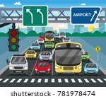 red traffic light signal on... | Shutterstock .eps vector #781978474