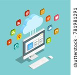 cloud computing service concept ... | Shutterstock .eps vector #781981291