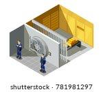 federal bank gold vault... | Shutterstock .eps vector #781981297