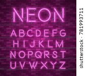 realistic neon alphabet. bright ... | Shutterstock .eps vector #781993711