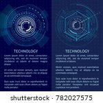 technology poster with bright...