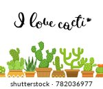 bunch of cacti in pots in flat... | Shutterstock .eps vector #782036977