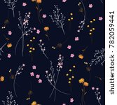 trendy  wild blowing  floral... | Shutterstock .eps vector #782059441