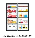 fridge with open door. full of... | Shutterstock .eps vector #782062177