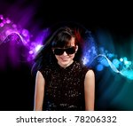 young woman dancing at disco or ... | Shutterstock . vector #78206332