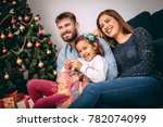 christmas giving gifts concept. ... | Shutterstock . vector #782074099