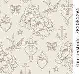 seamless pattern with old... | Shutterstock .eps vector #782085265