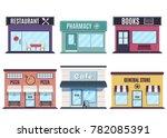 store and restaurants facades.... | Shutterstock .eps vector #782085391