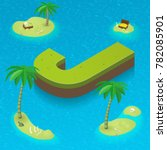 isometric letter j as an island ... | Shutterstock .eps vector #782085901