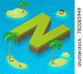 isometric letter n  surrounded... | Shutterstock .eps vector #782085949