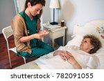female doctor taking... | Shutterstock . vector #782091055