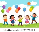 happy kids jumping together and ... | Shutterstock .eps vector #782094121