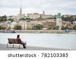 girl in red beret sits on a... | Shutterstock . vector #782103385
