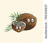 cartoonish coconut doodle  cute ... | Shutterstock .eps vector #782103637
