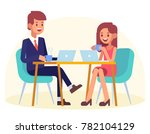 couple sitting in cafe with... | Shutterstock .eps vector #782104129