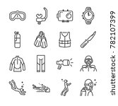 scuba diving icon set. included ...   Shutterstock .eps vector #782107399