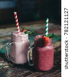 smoothie drinks with striped...   Shutterstock . vector #782121127