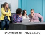 young start up team disccusing... | Shutterstock . vector #782132197