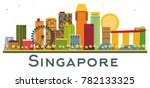 singapore skyline with color... | Shutterstock .eps vector #782133325