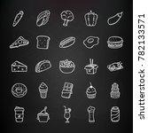 set of hand drawn doodle food... | Shutterstock .eps vector #782133571