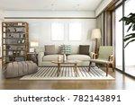 3d rendering white scandinavian ...   Shutterstock . vector #782143891