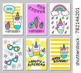 a set of cards with a happy... | Shutterstock .eps vector #782146201