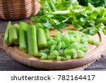 Sliced Fresh Celery On A...