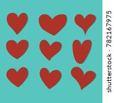 set of red hearts icons vector... | Shutterstock .eps vector #782167975