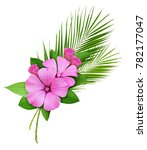 palm leaves and pink wild... | Shutterstock . vector #782177047