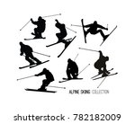set of black alpine skier s ... | Shutterstock . vector #782182009