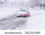 driving in snow storm on... | Shutterstock . vector #782201485