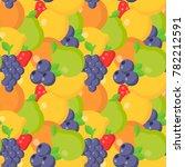 flat fruits seamless pattern...   Shutterstock .eps vector #782212591