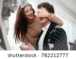 couple in love. the guy makes a ... | Shutterstock . vector #782212777