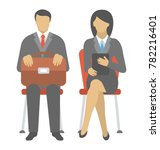 a man and a woman waiting for a ... | Shutterstock .eps vector #782216401