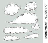 clouds doodles   set of 7 | Shutterstock .eps vector #782221477