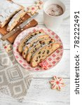 christmas stollen. traditional... | Shutterstock . vector #782222491