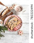 christmas stollen. traditional... | Shutterstock . vector #782222494