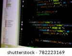 Stock photo computer source code programmer script developer programming monitor i am programmer this is my 782223169