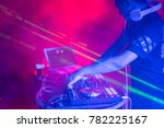 dj with headphones playing... | Shutterstock . vector #782225167