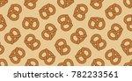 pretzel cookie seamless pattern ... | Shutterstock .eps vector #782233561
