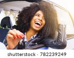 big smile  afro hair girl with... | Shutterstock . vector #782239249