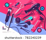 hairdressing tools  hairbrush... | Shutterstock .eps vector #782240239