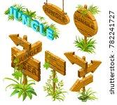 isometric wooden sign set on... | Shutterstock .eps vector #782241727