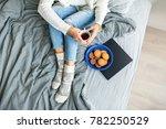 pretty woman in white sweater ... | Shutterstock . vector #782250529