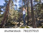 hiker sport woman standing on a ... | Shutterstock . vector #782257015
