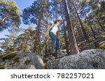 hiker sport woman walking over... | Shutterstock . vector #782257021