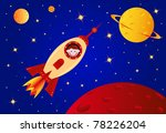 astronaut boy in the rocket in... | Shutterstock .eps vector #78226204