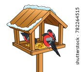 winter bird feeder pop art...   Shutterstock .eps vector #782264515
