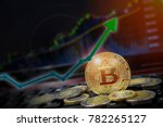 Small photo of Bitcoin arrow up for increasing value and financial upswing concept. Gains and success in crypto bitcoin investments. Copy space for text.