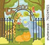 wild animals in zoo park.... | Shutterstock .eps vector #782269021